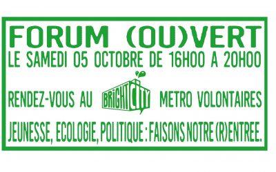 "Ce weekend, Forum ""Jeunesse, Ecologie, Politique""!"