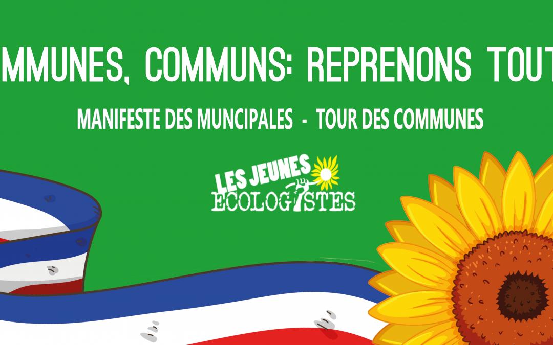 Manifeste des Municipales et Tour des Communes : Les Jeunes Écologistes mobilisé·e·s !