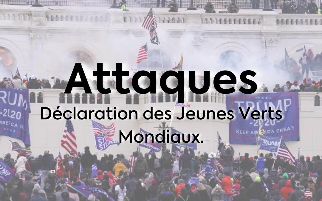 Attaques du 6 Janvier, déclaration des Jeunes Verts Mondiaux